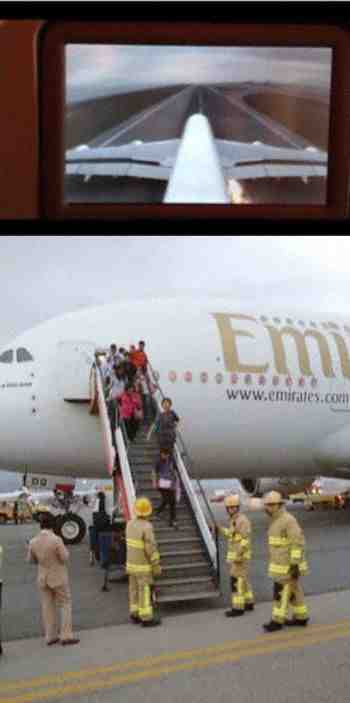 The Emirates Airbus A380 sits on the Runway at Hong Kong Airport with Blown Tires